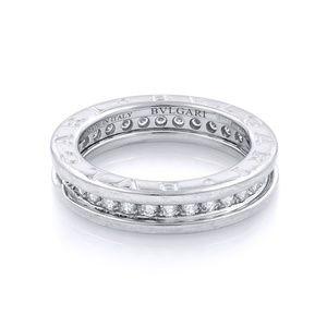 Bvlgari 18K White Gold Diamond Ring Size 5.25